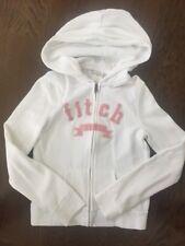 EUC Abercrombie Kids White Zip Up Hoodie Sweatshirt S