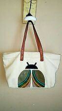 Fossil White Canvas Extra Large Tote Shopper Shoulderbag Handbag Purse