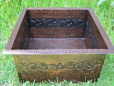 * Copper Bar Sink 16x16x8 flower copper Hammered handmade !!