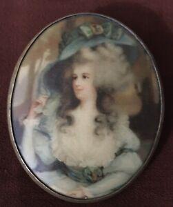 Antique Vintage Victorian Portrait Brooch Pin Pendant Celluloid English Duchess