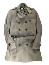 NWT Burberry Brit Womens Khaki Tan Trench Coat Wool Blend SZ 14 Button Up Buckle