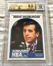 Brent Musberger autographed signed 1989-90 Hoops Announcers card BAS BGS 9.5 10