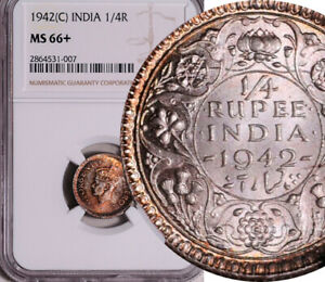 NGC MS-66+ INDIA (BRITISH) SILVER 1/4 RUPEE 1942 (HIGHEST GRADED!) TOP POP: 1/0