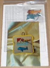"""""""Needlework on the Beach"""" Cross Stitch Pattern w/ Manatee & Woman Buttons Nip"""