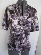 Apt. 9 Poly & Spandex Career Purple Blouse With Floral Short Sleeve Reg. Size L