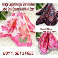 Lot 3 Pcs New Fashion Elegant Silk Satin Womens Small Square Head Neck Scarf 212