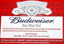 RARE BRAND NEW 2 RAISED NON-SLIP BUDWEISER BEER RUBBER BAR MATS GIFT SET. NIB