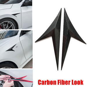 Universal Car Decorative Side Fender Wing Cover Stickers Trim Carbon Fiber Style