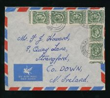 GIBRALTAR KG6 HALFPENNY COIL STAMPS USED on AIRMAIL ENVELOPE 1952 to N.IRELAND