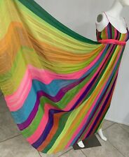 Vintage 1970s Nina Ricci Empire Gown With Multicolored Silk Chiffon