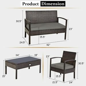 CHAIRS ONLY Costway HW63214 Rattan Patio Furniture Set - 2 Piece