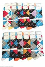 12 Pairs Mens Argyle Dress Socks #13S NEW Multi-Colors Designer Size 10-13