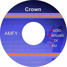 Crown service manuals, owners manuals and schematics on 1 DVD, all in pdf