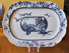 "Antique Flow Blue Transferware Platter Brownfield Woodland Pheasants Ducks 18+"""
