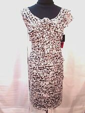 R & K Originals Dress 8 Sleeveless NEW Tiered Ruffled Black Beige  Career Work