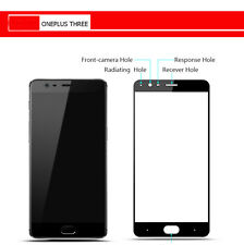Full Cover Genuine Tempered Glass 9H Screen Protector For OnePlus Three 3 Black