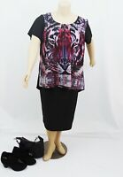 CITY CHIC Jungle Tiger Print Hi-Lo Silky Satin Evening Top | Plus Size: L (20)