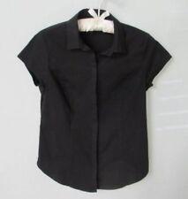 Worthington black cotton blend cap sleeve button front blouse *Sz S*