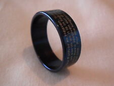 Unisex English Lords Prayer Bible Ring religious band 8mm wide blue 316 ss UK T