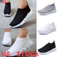 Women Sock Mesh Shoes Trainers Flat Slip On Comfy Casual Pumps Sneakers Size 6-9