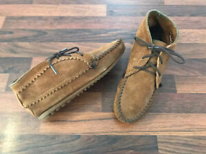 90s Vintage Brown Suede Leather Lace-Up Minnetonka Moccasin Ankle Boots US5/UK3
