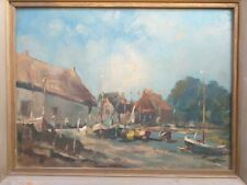 ANTIQUE ORIGINAL painting picture OIL ON BOARD c. 1950 creek marine boats dock