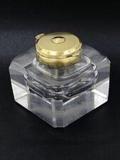 Ancien encrier en cristal soufflé taillé & bronze / Antique crystal inkwell