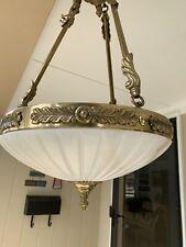 Vintage 3 Light Brass Chandelier w/Canopy & Milk Shade-Stunning!!
