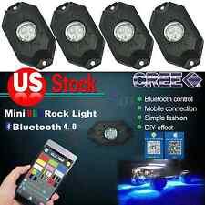 4X Pod Mini Bluetooth RGB LED Rock Lights 4x4WD offroad Jeep Truck Boat Vehicle