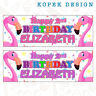 2 x Flamingo Girls Personalised Birthday Party Banners - any name/age 4th 5th