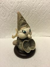 OLD PRESSED GLITTER CARDBOARD ELF  DWARF CHRISTMAS CANDY CONTAINER