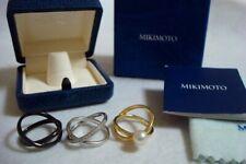 "Authentic ""MIKIMOTO"" K18   Akoya Pearl , Diamond 3set Crossing Ring"