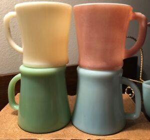 4 Vintage Fire King Assorted Milk Glass Mug Lot Turquoise Pink Batman Ivory