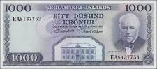 Island / Iceland 1.000 Kronen 1961 Pick 46 (1)
