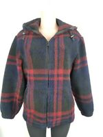 VTG Woolrich Women Small High Pile Sherpa Coat Jacket Blue Red Plaid Full Zip