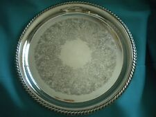 Vintage Silver Plate Tray - International Silver Co - Rope Design