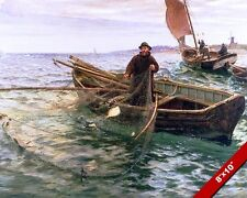 OLD MAN FISHING IN THE SEA FISHERMAN PULLING NET PAINTING ART REAL CANVAS PRINT