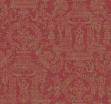 Wallpaper Designer Traditional Style Pagoda Floral Tan Damask on Burgundy Red