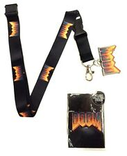 DOOM LOGO METAL CHARM BLACK SUBLIMATED LANYARD BADGE ID HOLDER KEYCHAIN NECKLACE
