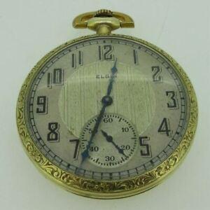 Antique 1922 Elgin Grade 345 Model 3 12s 17J Gold Filled Pocket Watch Parts As-I