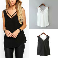 Women Fashion Loose Vest Tops Lady Sleeveless Casual Chiffon V Neck Tee Shirt