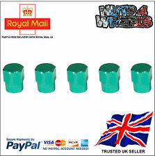 5 x GREEN Aluminium Alloy Tyre Valve Dust Caps 4 +1 Car Bike Bicycle Van