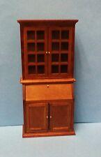 Dollhouse Miniature 1:12 scale tall walnut bookcase, secretary desk