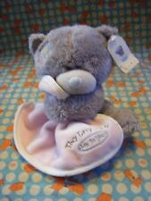 """TINY TATTY TEDDY ME TO YOU BEAR HOLDING  PINK COMFORTER  8"""" APPROX WITH TAGS VGC"""
