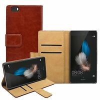 WALLET Leather Flip Case Cover Pouch Saver For Mobile Phone Huawei P8 Lite 2015