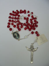 "Precious Blood of Christ Chaplet Rosary CRYSTAL Beads Handmade 24""+ Holy Card"