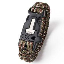 Survival Parachute Cord Bracelet Rope Flint Whistle Compass  Hiking Accessories