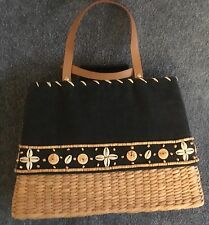 Vintage Navy Denim & Straw Purse with Sea Shell & Wooden Beads, Leather Handles