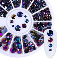 3D Nail Art Rhinestone Round Flat Back Acrylic UV Gel Decoration Tips 230Pcs/Box