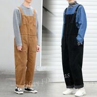 Men Retro Corduroy Winter Overall Suspenders Trouser Jumpsuit Bib Wide-leg Pants